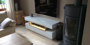 meuble TV  laqué blanc